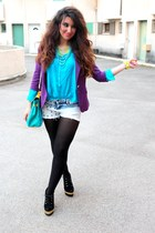 navy Bershka shorts - deep purple Zara blazer - sky blue Zara blouse