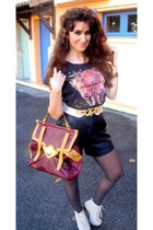 black vintage shorts - charcoal gray camaieu tights - brick red asoscom bag