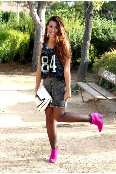 Hot Pink Zara Boots, Ivory Primark Bags, Gray H&M Skirts ...