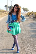 blue heels - hot pink asos bag - blue fame top - navy vintage belt