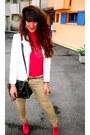 Hot-pink-boots-eggshell-vintage-blazer-black-bag-tan-h-m-pants
