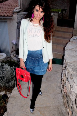 aquamarine Zara blazer - red new look bag - silver new look heels