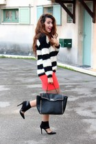 eggshell fluffy Forever 21 jumper - black Forever 21 bag - red asos skirt