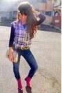 Magenta-jelonini-boots-navy-zara-jeans-silver-asos-bag
