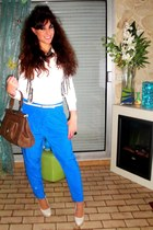 turquoise blue asos pants - nude Zara sweater - brown bag - white asos blouse
