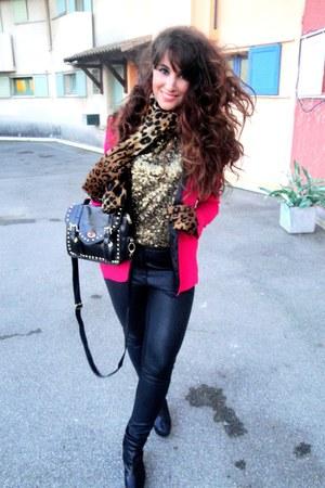 black H&M pants - hot pink Zara blazer - gold H&M top