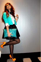 carrot orange heels - turquoise blue asos blazer - turquoise blue asos bag