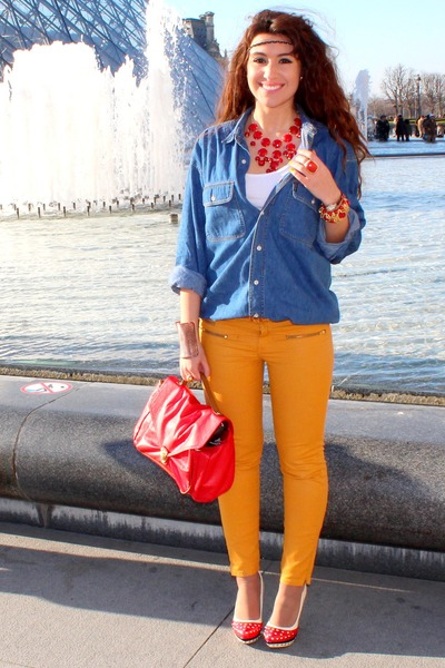 gold Zara pants - red H&M bag - red heels - navy vintage blouse