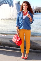 gold Zara pants - red H&M bag - red heels - navy vintage blouse