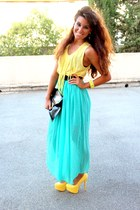 aquamarine fame skirt - black asos bag - light yellow Ebay heels