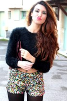 Boohoo boots - asos bag - sequins Boohoo shorts - fluffy Pimkie jumper