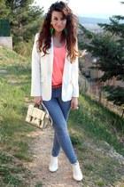 periwinkle Parisian pants - white Forever 21 blazer - silver asos bag