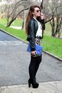 Black-boohoo-boots-black-forever21-jacket-brown-h-m-skirt