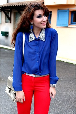 blue Forever21 blouse - silver asos bag - red H&M pants - blue asos earrings
