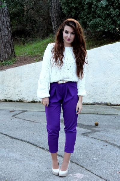 purple asos pants - white asos bag - white H&M jumper - white asos belt