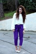 purple asos pants - white asos bag - white H&M jumper - white asos belt