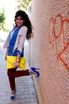 blue heels - beige dressrail blazer - yellow asos bag - sky blue blouse