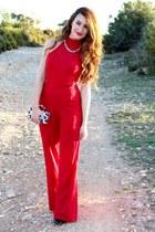 red Nasty Gal suit - bronze Aliexpress bag - black Zara heels