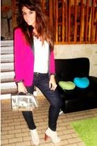 hot pink Zara blazer - beige boots - silver asos bag - navy Zara pants
