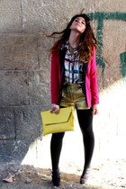 gold asoscom shorts - hot pink Zara blazer - yellow asos bag
