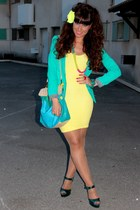 yellow Bershka dress - turquoise blue camaieu blazer - teal asos sandals