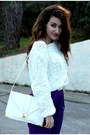 White-asos-bag-purple-asos-pants-white-h-m-jumper-white-asos-belt