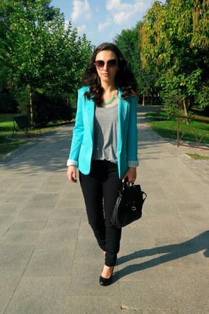 turquoise blue Zara blazer - black H&M bag - nude round oversized H&M sunglasses