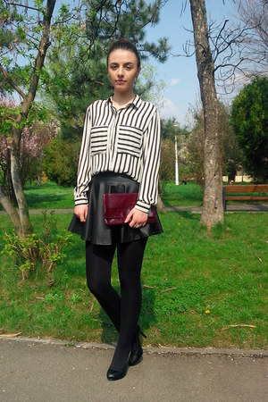 white striped Rosewholesale blouse - black leather Rosewholesale skirt