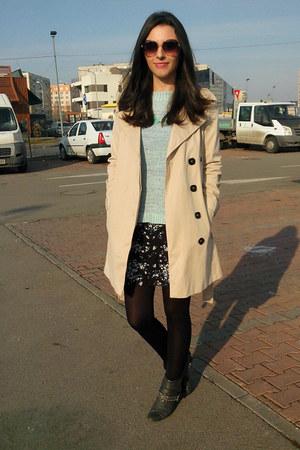 beige trench Zara coat - dark gray ankle boots Deichmann boots - black H&M dress