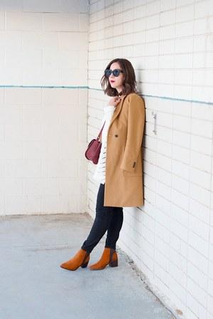 maroon crossbody APC bag - tawny suede Aldo boots - camel Zara coat