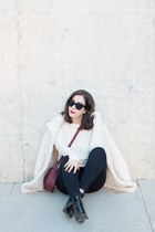 ivory oversized Topshop coat - black patent leather Aldo boots