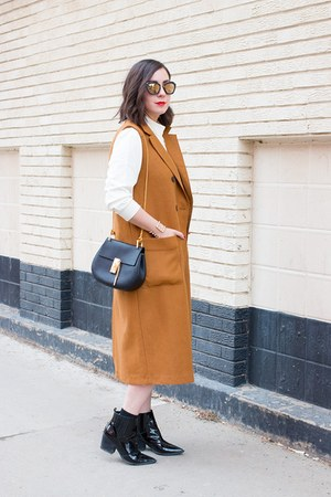 camel Zara vest - black drew Chloe bag - black culottes Topshop pants
