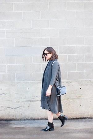 black patent Aldo boots - gray tshirt dress The Great dress