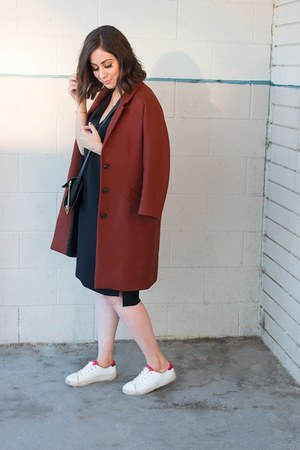 black vince dress - brick red Zara coat - black faye Chloe bag