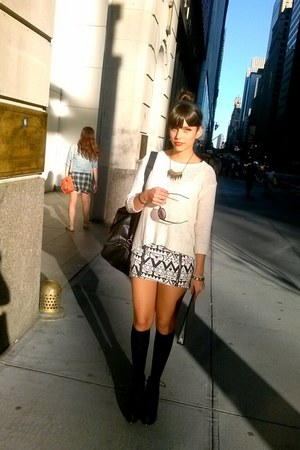 black heels H&M boots - white H&M skirt - black Forever 21 accessories