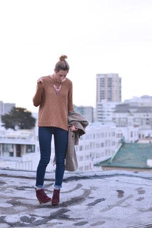 camel madewell sweater - crimson Michael Kors boots - navy Gap jeans