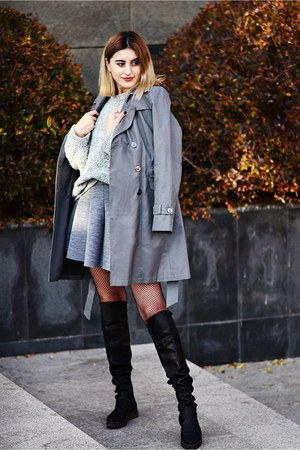 papucei boots - DKNY cardigan - Tally Weijl skirt