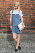 neutral Zara bag - blue Peter Jensen romper - black acne loafers