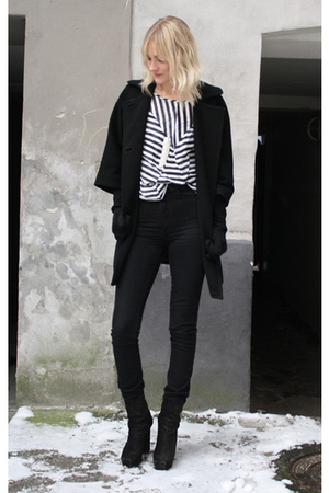 blue acne top - black acne boots - Paul & Joe Sister coat - black acne jeans