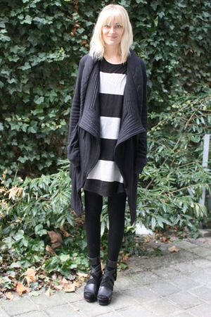 black Rick Owens cardigan - black acne shoes - COS dress