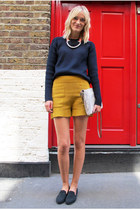 beige Zara bag - navy COS sweater - mustard H&M shorts - black acne loafers