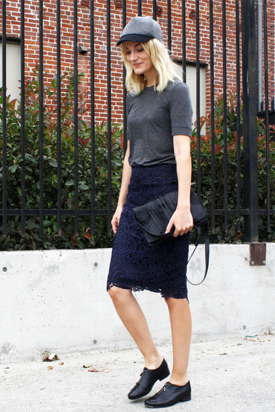 Zara skirt - won hundred shoes - asos hat - Yvonne Kon bag - H&M top