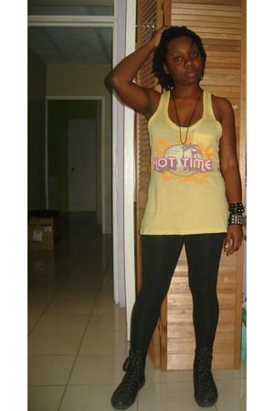 yellow No Boundaries blouse - black leggings - black Converse shoes - black hott