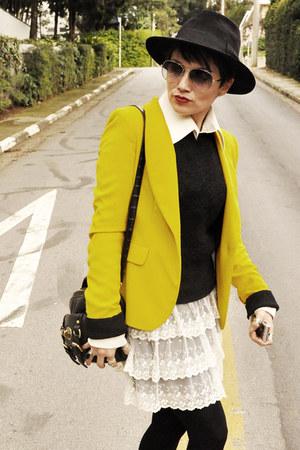 mustard Zara blazer - black personal colection hat - ivory Zara skirt