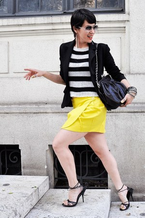 yellow collins skirt - black carmim blazer - dark brown personal collection bag