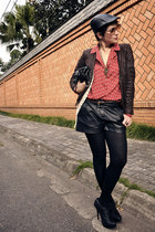 dark brown Zara jacket - black Spot shoes boots - black leather galery hat