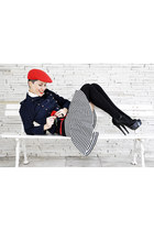 red El sombrero hat - navy collins jacket - white Zara shirt - black Zara skirt