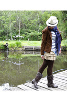 ivory striped Zara t-shirt - dark brown Dmilton boots