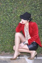 red velvet Zara blazer - tan silk Zara shirt - black personal collection bag - b