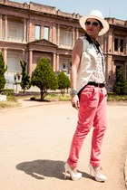 white leather Erre Erre vest - ivory BR Gallery hat